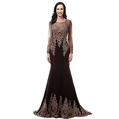 2553cb2a838 Kivary Illusion Long Sleeves Mermaid Gold Lace Crystals Prom Evening Dresses  Plus Size Black US 16W