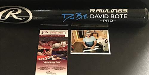 David Bote Chicago Cubs Autographed Signed Black Baseball Bat JSA WITNESS COA