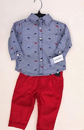 - Carter's Baby Boys' Button Front Dino Print Top and Canvas Pants Set 6 Months Blue/Red