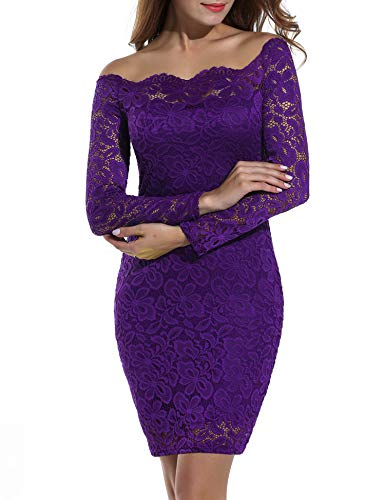 ACEVOG Women's Off Shoulder Lace Dress Long Sleeve Bodycon Casual Dresses (Small, Purple)