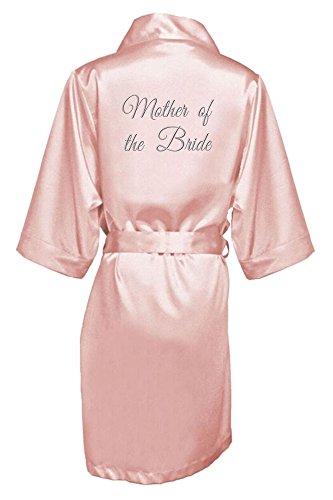 Zynotti Womens Embroidered Silver Thread Mother of the Bride Wedding Bridal Party Kimono Blush Satin Robe - S/M 2-12