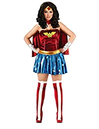 Rubie's Women's Dc Comics Deluxe Wonder Woman Plus Size Costume and Wig Bundle