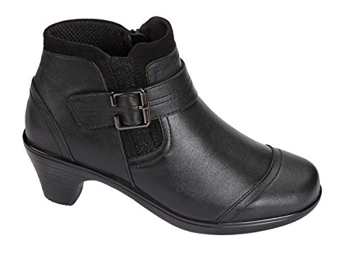 Orthofeet Most Comfortable 2 Inch Black Low Heels Womens Booties Emma BioHeels