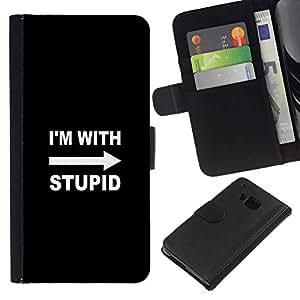 NEECELL GIFT forCITY // Billetera de cuero Caso Cubierta de protección Carcasa / Leather Wallet Case for HTC One M7 // Estoy con estúpido divertido
