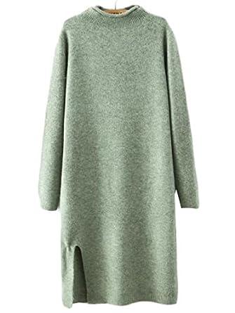 Craze Mock Verde Corbata Vestido suéter Recta de la Mujer: Amazon ...