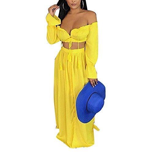 Womens 2 Piece Outfits Dress Sexy Summer Off Shoulder Crop Top and Slit Maxi Skirt Set Chiffon Yellow L 7