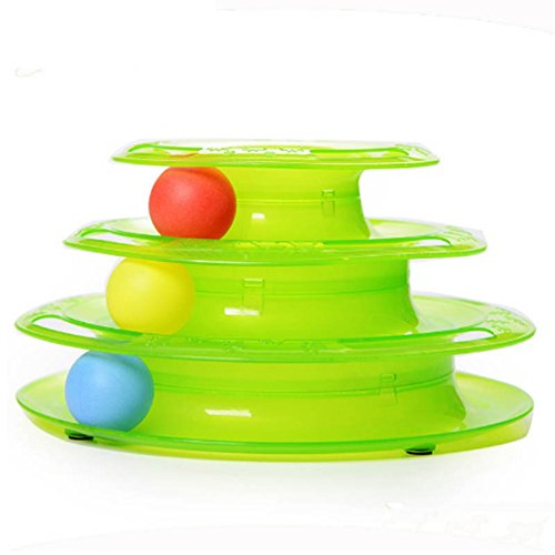 Infinal Three Layers Cat Entertainment Turntable With Colorful Balls, Funny Anti Slip Amusement Intelligence Toys for Pet Cat Review
