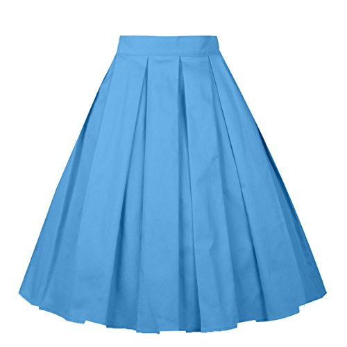 Girstunm Women's Pleated Vintage Skirt Floral Print A-line Midi Skirts with Pockets Steel-Blue L - Pattern Dance Skirt