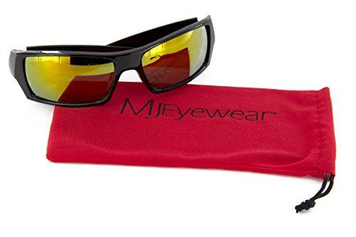 MJ EYEWEAR Men Black Frames and Yellow Lens Sport Wrap Around - Sunglasses Ban Rey