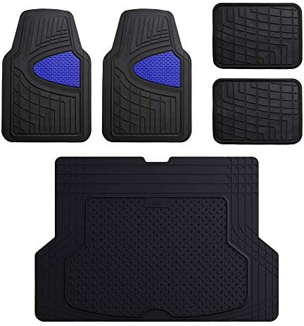 FH Group F11311 + F1640 Premium Tall Trimmable Channel Rubber Floor Mats (Blue) Full Set – Universal Fit for Cars Trucks and SUVs