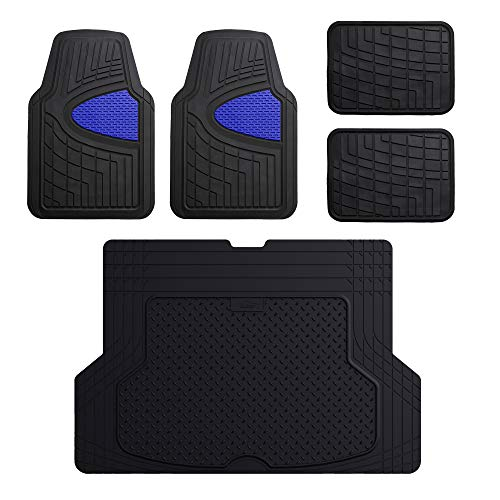 2006 Cobalt Ss Coupe - FH Group F11311 Premium Tall Channel Rubber Floor Mats, Blue/Black Color w. F16406 Premium Trimmable Black Rubber Cargo Mat