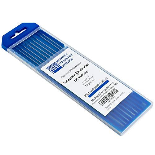 "TIG Welding Tungsten Electrodes 2% Lanthanated 0.040"" x 7"" (Blue, WL20) 10-Pack"