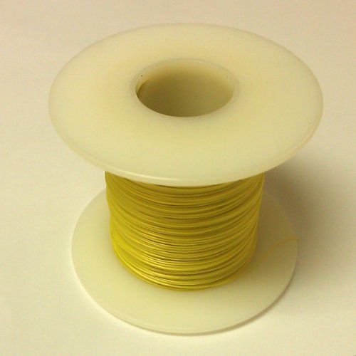 YELLOW 26 Gauge Solid, Kynar Insulated Electronic, Wire Wrap, Hobby or Crafts Wire, 500 Foot (Yellow 500' Spool)