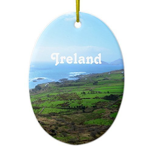 Lionkin8 Christmas Decorations Tree Ornament Irish Countryside Ceramic Ornament Oval Ornament Funny Xmas Gifts Holiday Home Decor - 3 inch