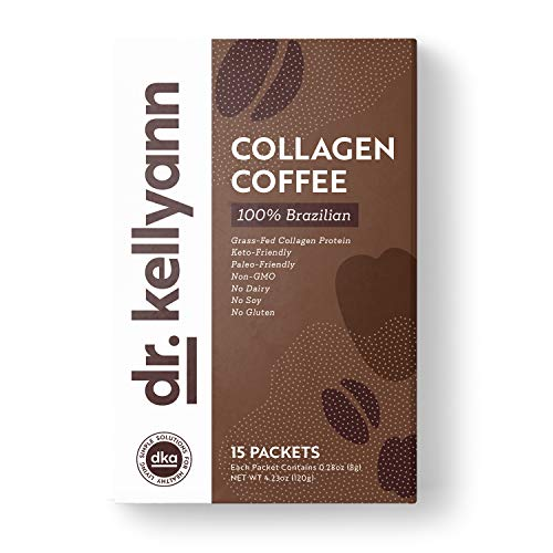 Keto Coffee Packets to Go - Instant Brazilian Collagen Coffee by Bone Broth Expert Dr. Kellyann - 100% Grass-Fed Collagen Powder - Perfect for Keto, Paleo & Weight Loss Diets (15 Servings, 1 Box)