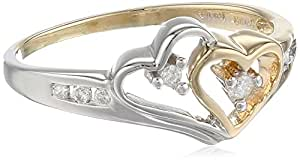 14K Yellow Gold and White Gold Diamond Heart Ring, Size 5 (1/10 cttw)