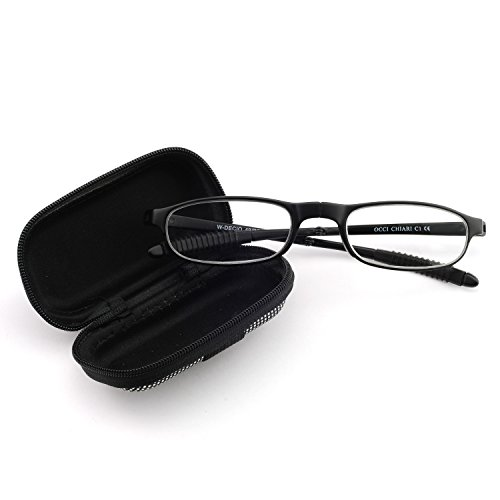 OCCI CHIARI Lightweight TR90 Stylish Flat Rectangular Slim Full Rim Unisex folding Reading Glasses With Case 3.0