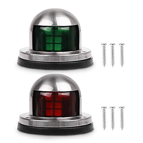 (One Pair Marine Boat Yacht Light 12V Stainless Steel Bow Navigation Lights)
