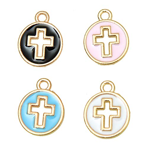 Monrocco 40PCS 4 Color Enamel Cross Charm Gold Plated Cross Charm Pendant Beads for Jewelry Making and Crafting