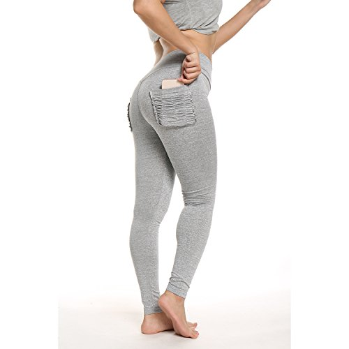 FITTOO Women Back Pockets Runched Leggings Butt Push up Scrunched Yoga Pants Light Grey S ()