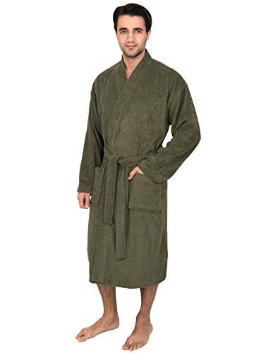 (TowelSelections Men's Robe, Turkish Cotton Terry Kimono Bathrobe X-Large/XX-Large Dusty Olive)