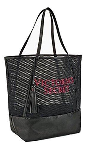 Victoria's Secret Embroidered Logo Black Mesh Travel Gym Beach Tote Bag