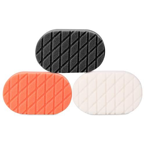 SPTA Light Cut and Finish Applicator Polishing Pad, Buffing Pads Set For Car Wax Buff, Pack of 3Pcs ()