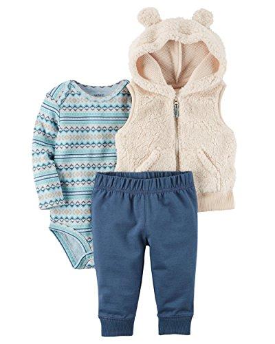 Carter's Baby Boys' 3 Piece Bear Vest Little Vest Set (newborn, Ivory)