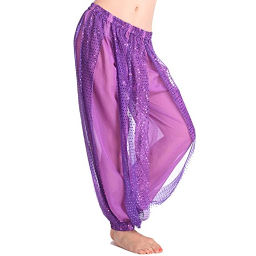 [Pilot-trade Women's Belly Dance Costume Shinny Bloomers trousers & Harem Pants Purple] (Purple Belly Dance Costume)