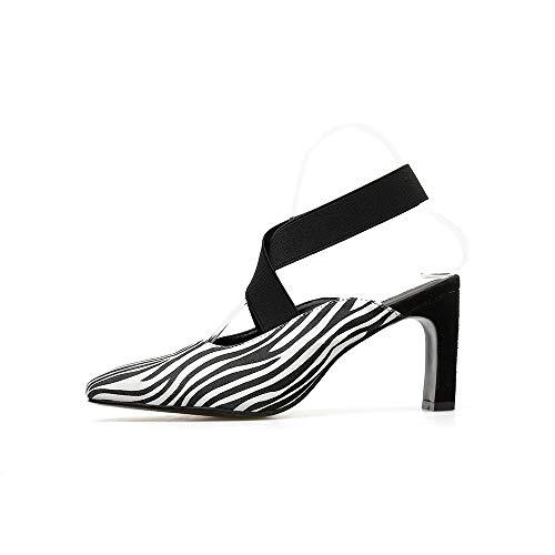 Boca Huecos Puntiagudas De Baja Con Sandalias Y Zapatos Salvaje Fengjingyuan White Banda Gruesas Mujer Elástica 75xPFxq1n
