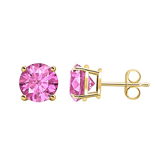 (Round Cut Created Pink Sapphire (6MM) Solitaire Stud Earrings 14K Yellow Gold Over .925 Sterling)