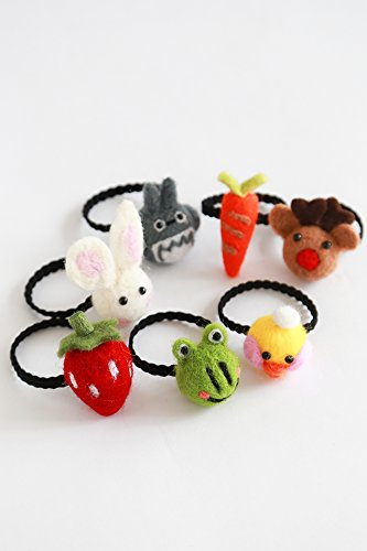 Generic Tousheng Japan and South Korea cartoon soft sister autumn and winter wool felt Animals Women Head hair rope Ties Ponytail Holder Band Hairband cute girl pigtails Women Head hair rope Ties Pony by Generic