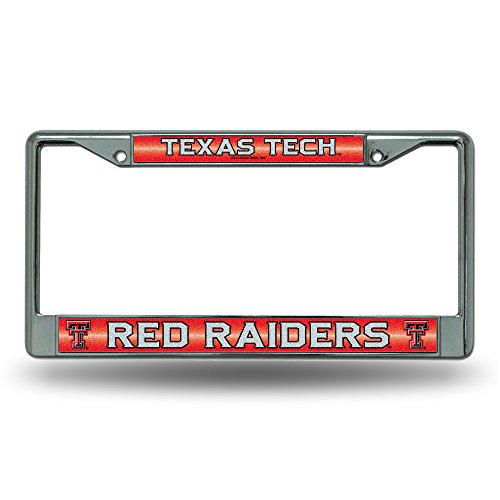 NCAA Texas Tech Red Raiders Bling Chrome License Plate Frame with Glitter ()