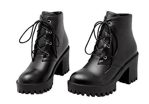 Unie Tacco Lacet Pu Femme Cuir Ageemi Rond Bottes Shoes Noir Alto Couleur 0x1YqxRn