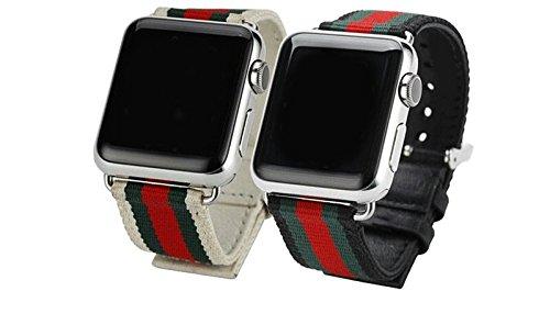 Designer red green nylon genuine leather apple watch band (White)