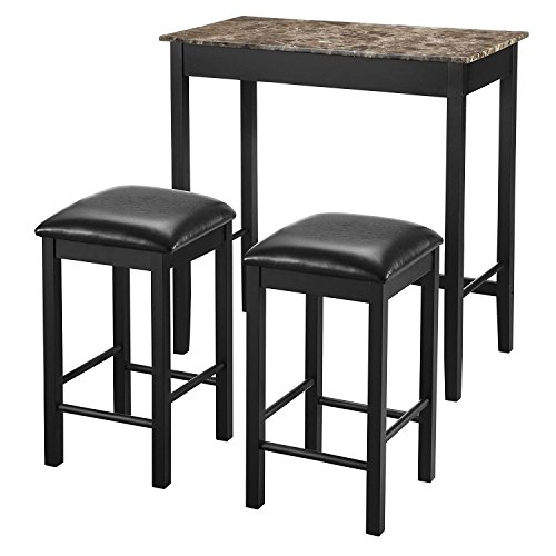 Dorel Living 3-Piece Devyn Faux Marble Pub Dining Set (Breakfast With Set Stools Table)