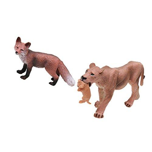 Perfk アクションフィギュア 子ども おもちゃ 置物 コレクション 狐 ライオネス 動物模型 モデル 全2点 コレクション
