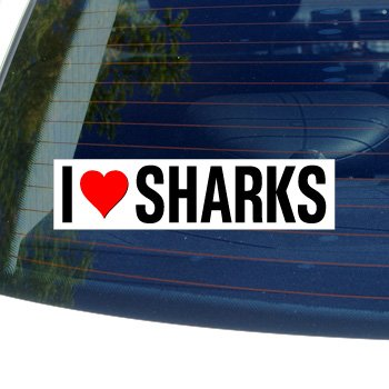 (I Love Heart Sharks - Window Bumper Sticker)