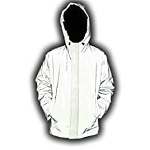 J&A Mens Super Bright 3M Reflective Rain Jacket Coat High Visibility Running Biking Outerwear