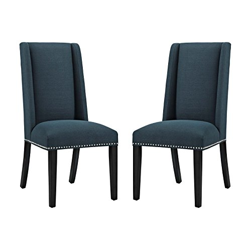 Cheap Modway Baron Upholstered Fabric Modern Tall Back Parsons Dining Chair With Nailhead Trim And Wood Legs In Azure – Set Of Two