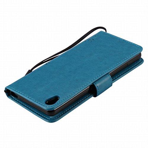 Custodia Sony Xperia XA Cover Case, Ougger Alberi Gatto Printing Portafoglio PU Pelle Magnetico Stand Morbido Silicone Flip Bumper Protettivo Gomma Shell Borsa Custodie con Slot per Schede (Blu)