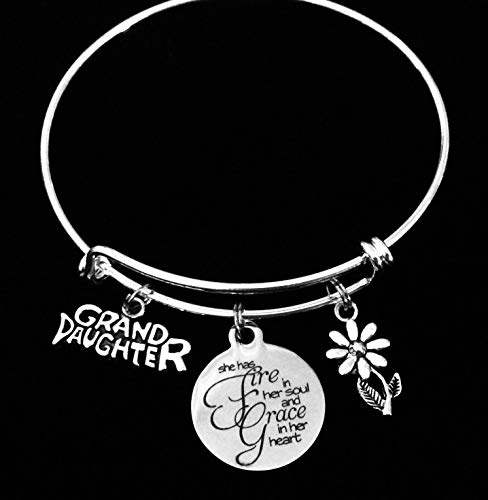 Granddaughter Adjustable Bracelet She Has Fire In Her Soul and Grace in Her Heart Silver Expandable Charm Bracelet Bangle Daisy Grand Daughter Gift Personalized Customized