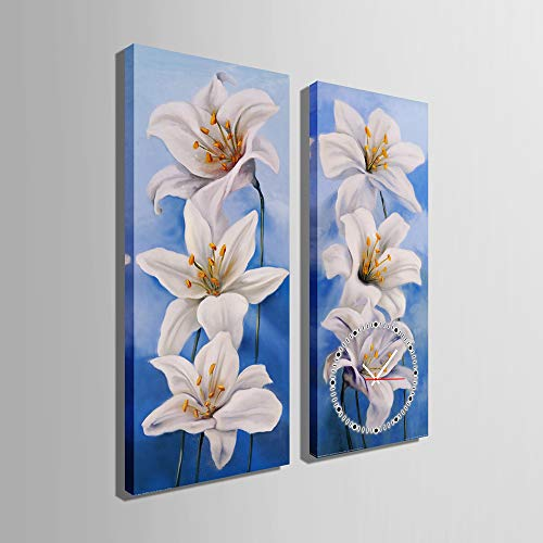 HSRG 2 Piece Wall Art Clock Flower Painting On Canvas Modern Print Wall Picture for Living Room Bedroom Wall Decor by HSRG (Image #1)
