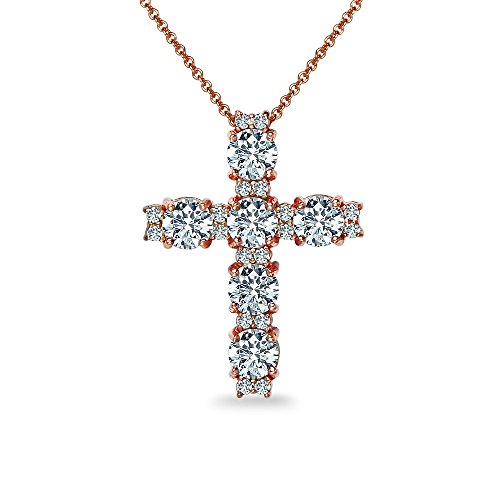 - GemStar USA Yellow Gold Flashed Sterling Silver Round Cross Necklace Made with Swarovski Zirconia
