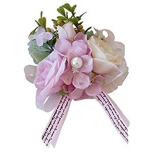 Prettyia Romantic Silk Hand Flowers Wedding Bride Bridesmaid Wrist Corsage - Dusty Pink 18