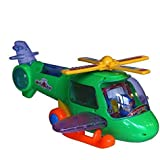 Toy Helicopter Action Figure with Bump and Go Action Flashing Lights and Musical Sound - Fun Packed Helicopter Play Set with Rotating Rotor and Cartoon Figures