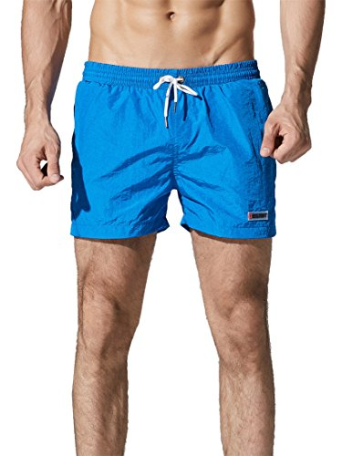 Neleus Men's Running Sports Shorts Swim Trunks,602,Blue,M,Tag - In Swim Running Shorts