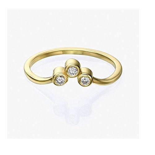 Brilliant Band Round Diamond Baguette (Trio Diamond Engagement Ring, 14k Gold Three Stone Round Brilliant Cut Diamond Engagement Ring, Bridal Jewelry, Bezel Set Ring)