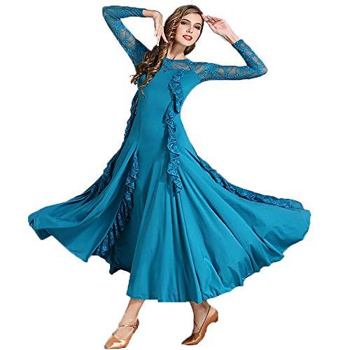 Mangas Xl 2xl Danza Pecho Falbala Falda 2018 Traje Latino Encaje Tamaño Baile Azul Vestido Diseños Ztxy De Gran Del Halloween Vientre Originales Largas Voluminosa zagqBXw