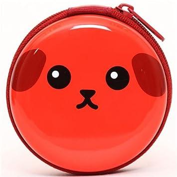 Monedero metal rojo fríjol Mameshiba perrito cajita lata